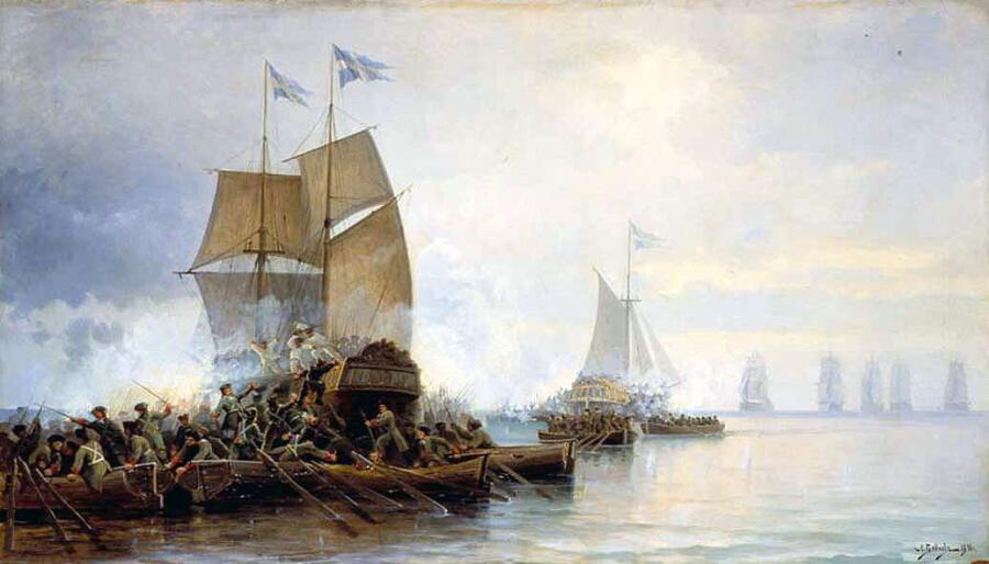 Л.Д. Блинов, «Взятие бота «Гедан» и шнявы «Астрильд» в устье Невы», 1890 г.