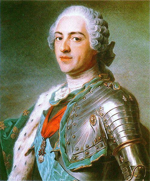 Король Франции Людовик XV в парике «крыло голубя», портрет работы Мориса Кантена де Латура