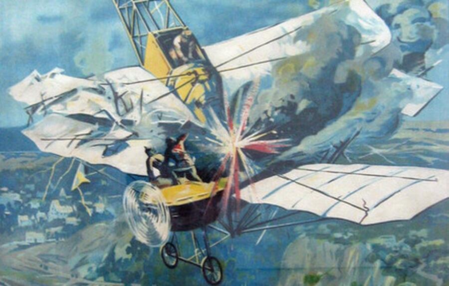 Фрагмент плаката «Подвиг и гибель лётчика Нестерова»