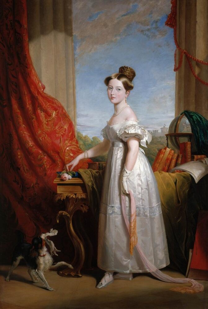 Джордж Хойтер, портрет принцессы Виктории Кентской, будущей королевы Виктории, 1833, 215×145 см, Королевская коллекция, Лондон, Англия