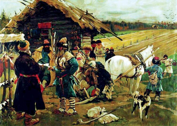 С. В. Иванов, «Отъезд крестьянина от помещика в Юрьев день», 1908 г.
