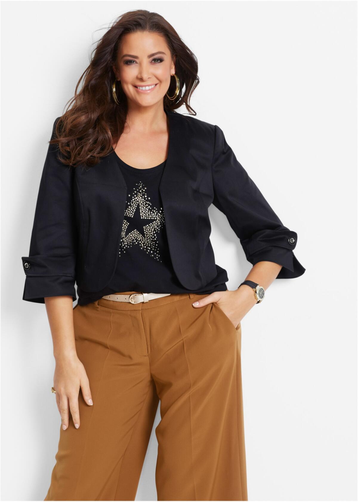Короткий пиджак - свободные брюки