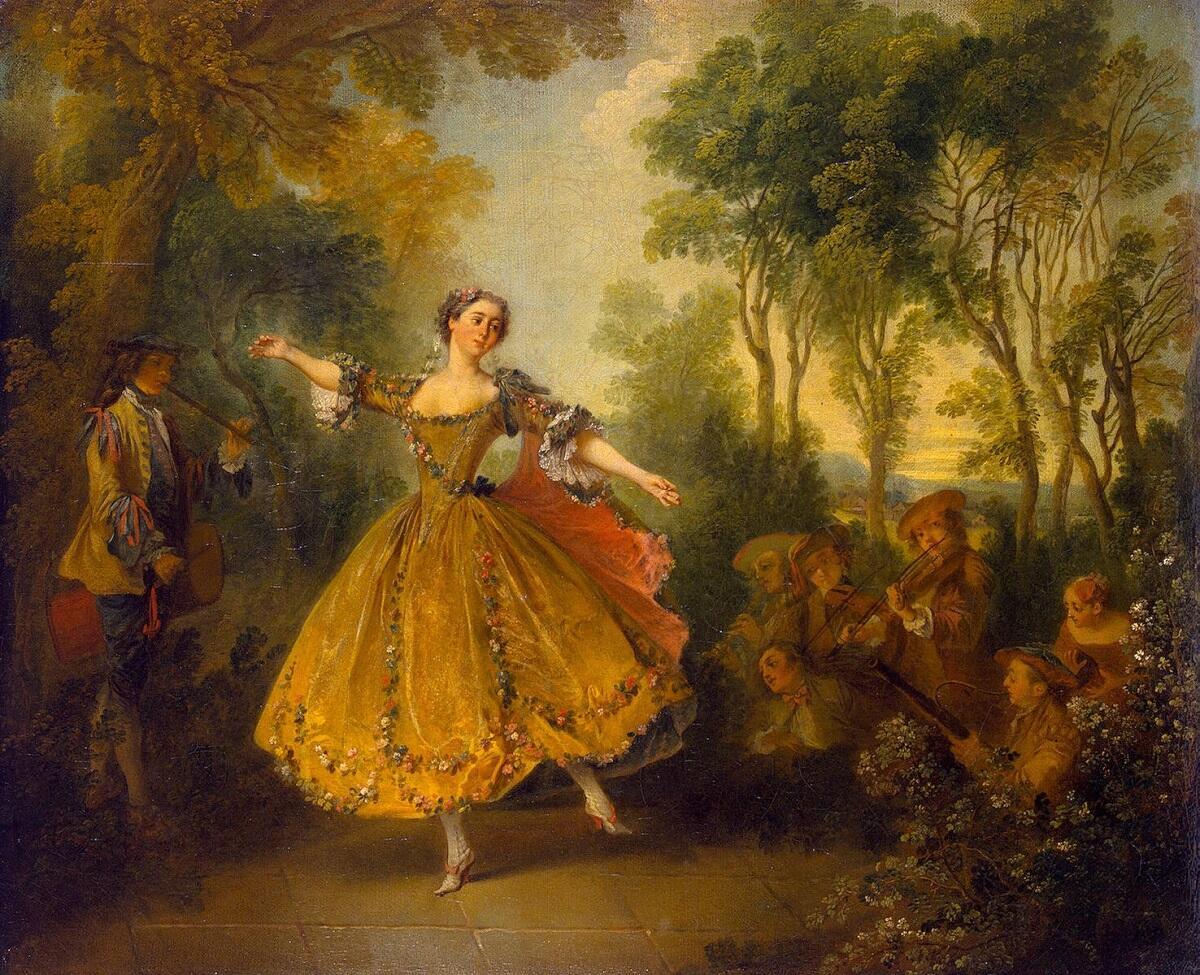 Николас  Ланкре, «Мари Камарго», 1730 г., 45×55 см, Эрмитаж, Санкт-Петербург, Россия