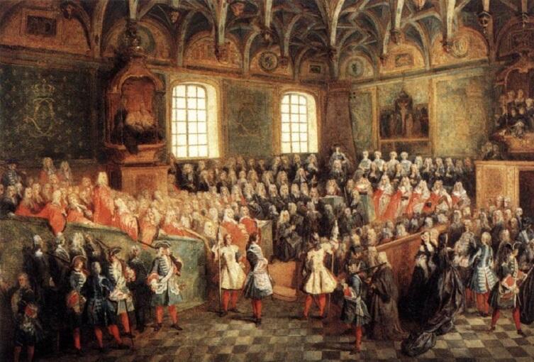 Николас  Ланкре, «Заседание верховного суда в Париже», 1724 г.