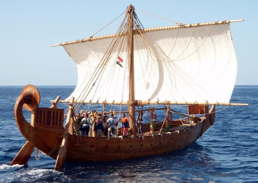 Реконструкция древнего корабля египтян