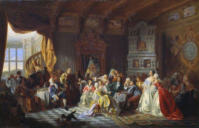 С. Хлебовский, «Ассамблея при Петре I», 1858 г.