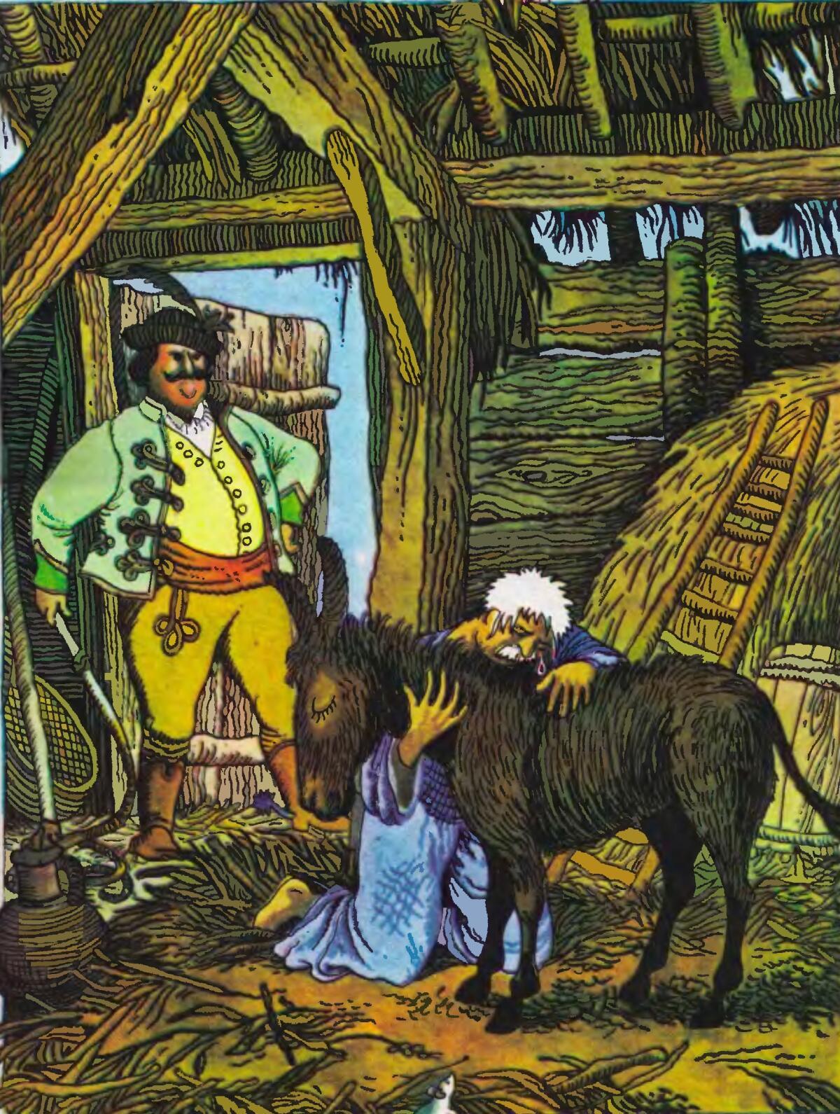 Сказка «Осел и бедняк», иллюстрация из книги «Угорські народні казки»