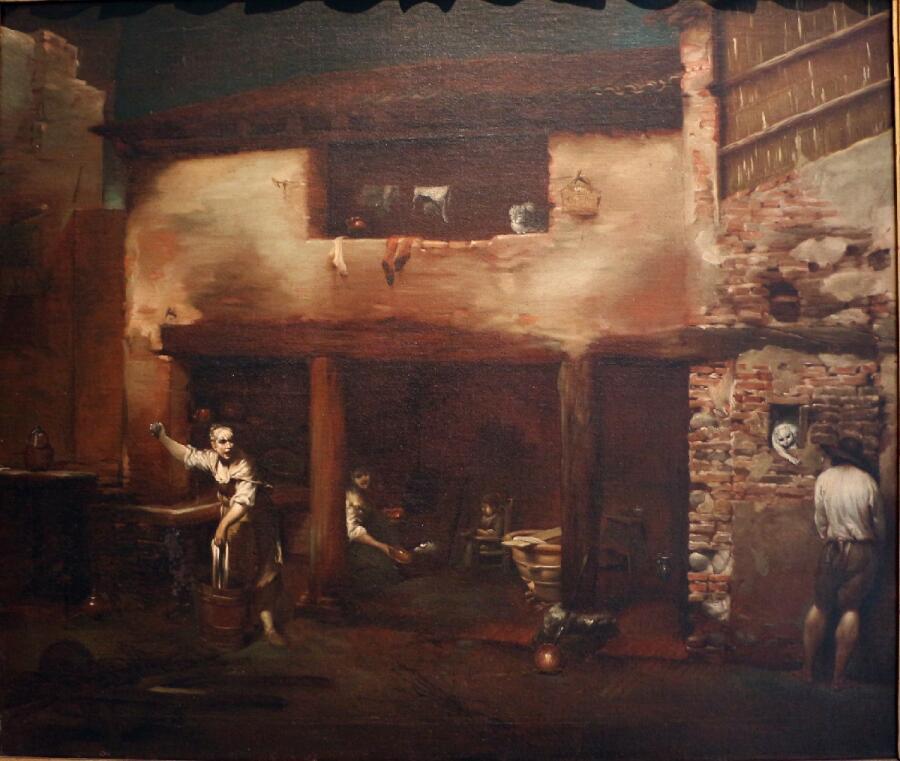 Джузеппе Креспи, «Дворовая сценка»