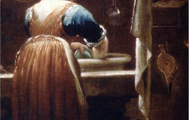 Джузеппе Креспи, «Посудомойка»,  фрагмент