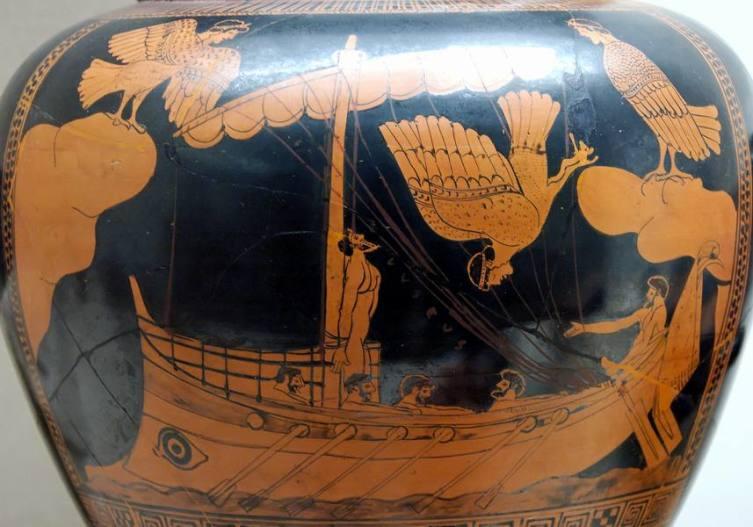 Одиссей и сирены на древнегреческой вазе