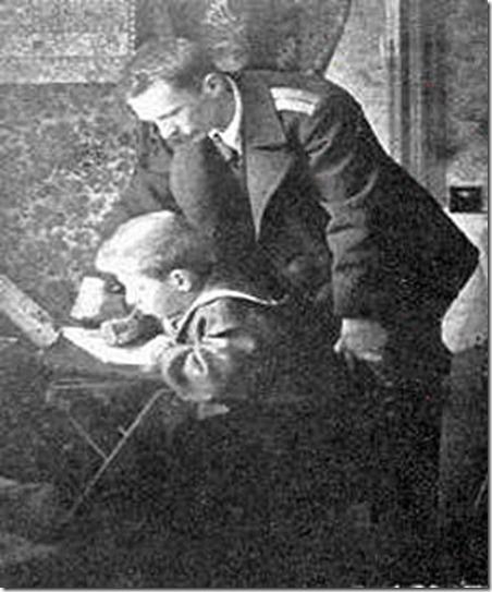 П. Шмидт с сыном Евгением