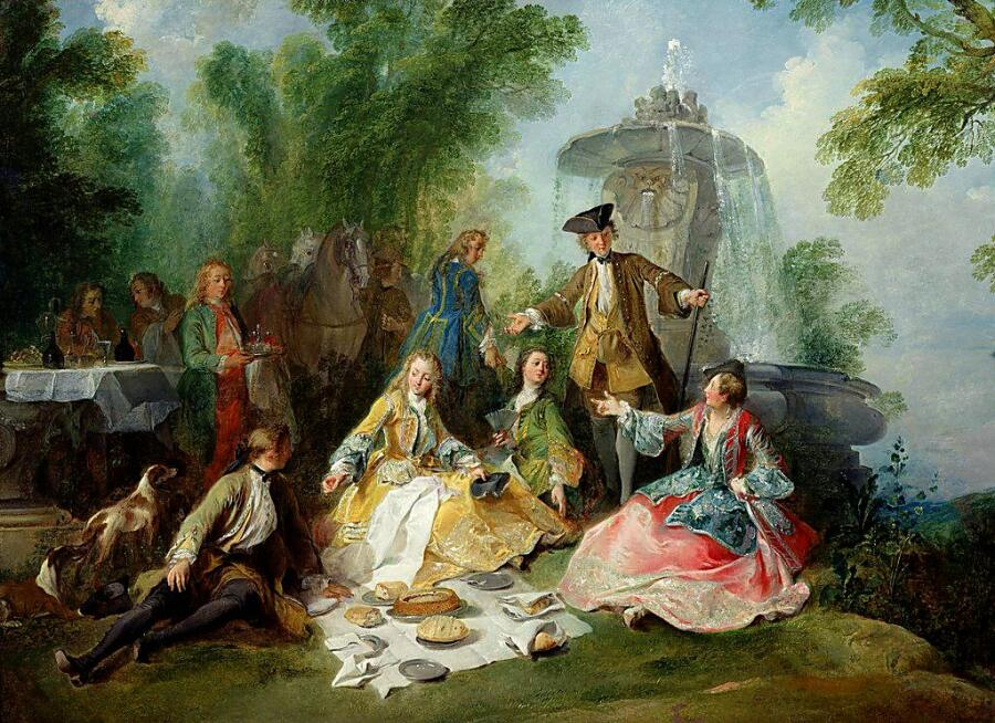 Никола Ланкре, «The Hunting Party Meal», (Охотничье застолье), 1737 г.