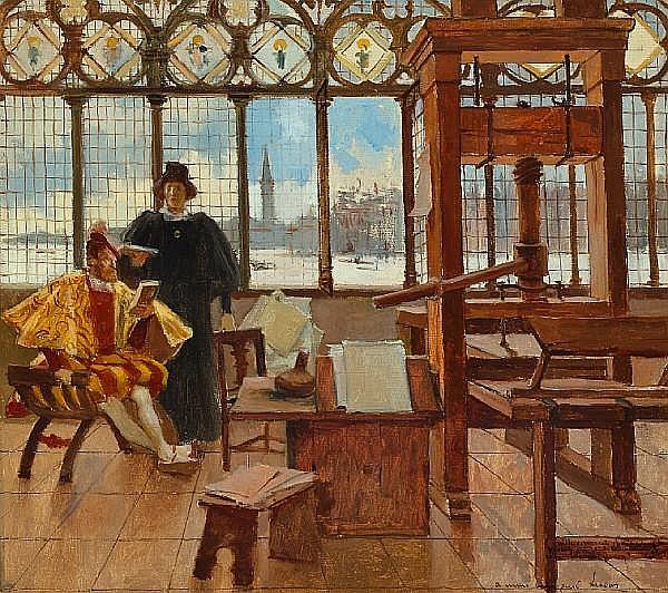 Картина Франсуа Флеминга (1856—1923), изображающая французского библиофила Жана Гролье (сидит) с Альдом Мануцием
