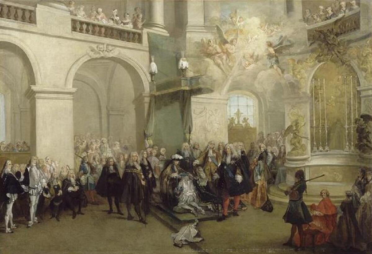 Николас  Ланкре, «Награждение орденом Святого Духа в капелле Версаля», 1724 г.
