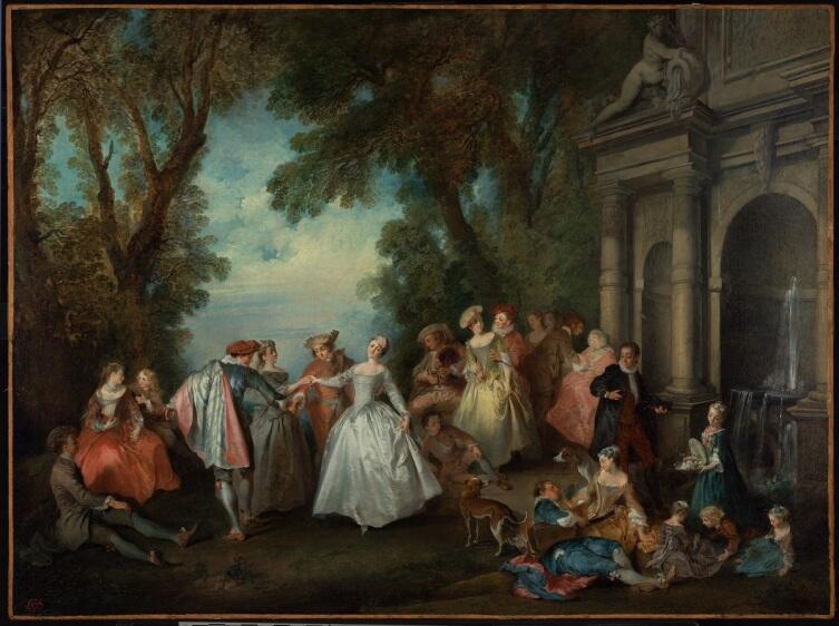Николас  Ланкре, «Танцы у фонтана», 1724 г.
