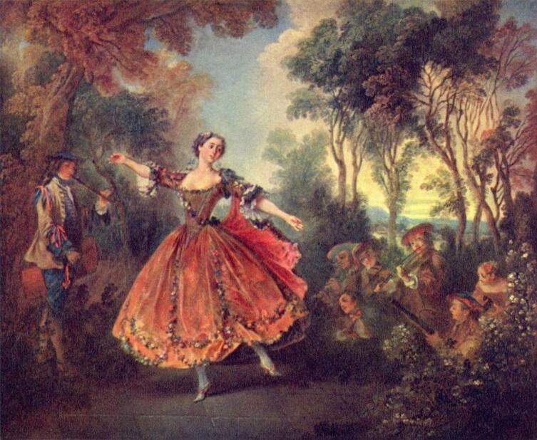 Николас Ланкре, «Танцует мадмуазель Камарго», 1730 г., 45х55 см, Собрание Уоллеса, Лондон, Англия