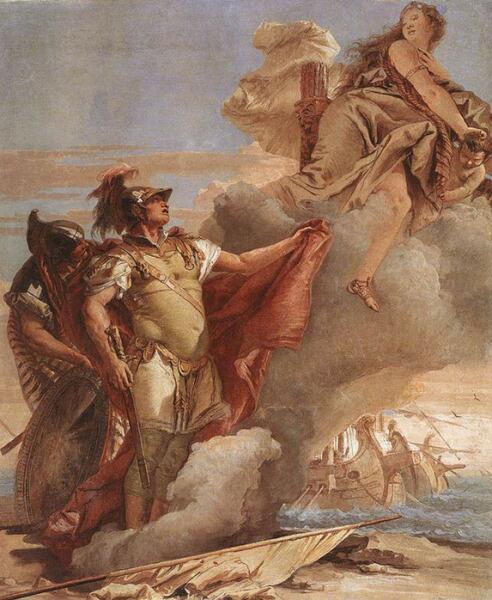 Джованни Баттиста Тьеполо, «Венера покидает Энея и Ахата на берегах Ливии», 1757 г.