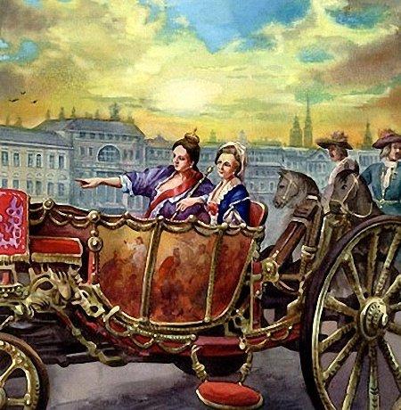 Неизвестный художник, «Анна Иоанновна и Анна Леопольдовна на прогулке»