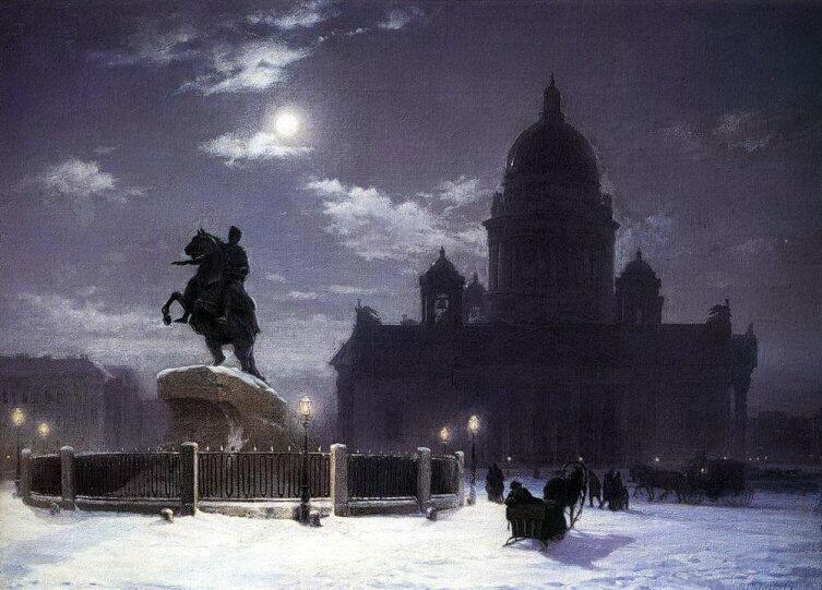 В. И. Суриков, «Вид памятника Петру I на Сенатской площади в Петербурге», 1870 г.