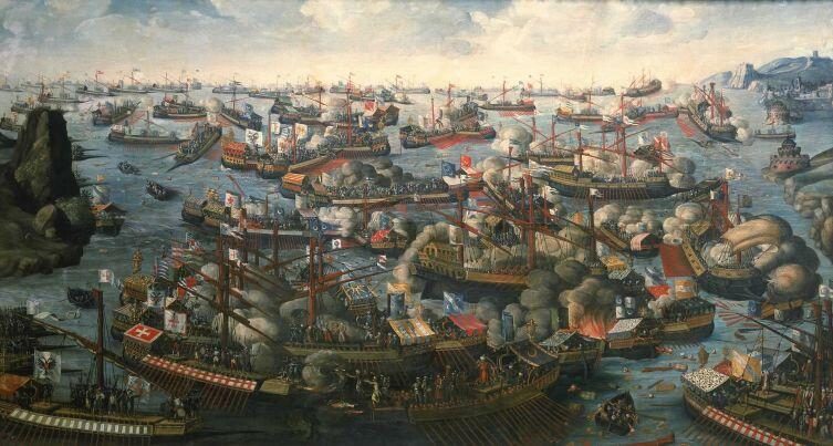 Картина неизвестного художника, «Битва при Лепанто», в этой битве принимал участие Мигель Сервантес