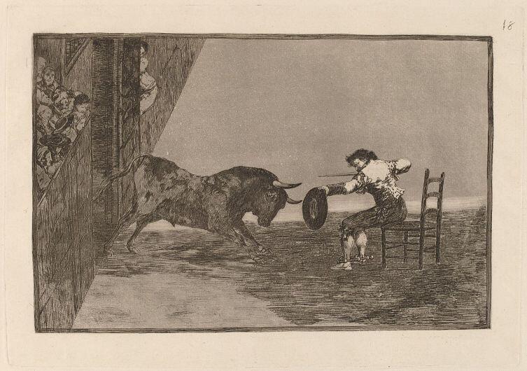 Франсиско Гойя, «Тавромахия», Офорт № 18 «Дерзкий поступок Мартинчо на арене Сарагосы», 1815 г.