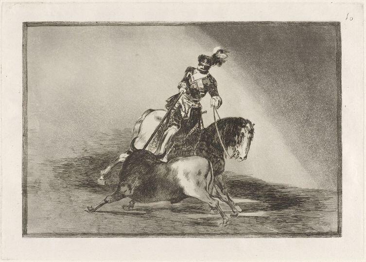 Франсиско Гойя, «Тавромахия», Офорт № 10 «Карл V пронзает быка копьем на арене в Вальядолиде», 1815 г.