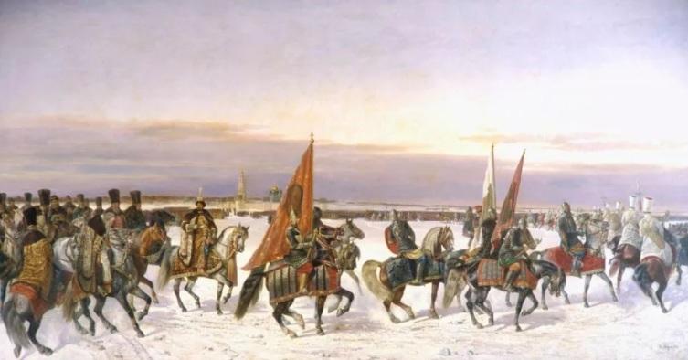 Николай Сверчков «Выезд царя Алексея Михайловича на смотр войск»