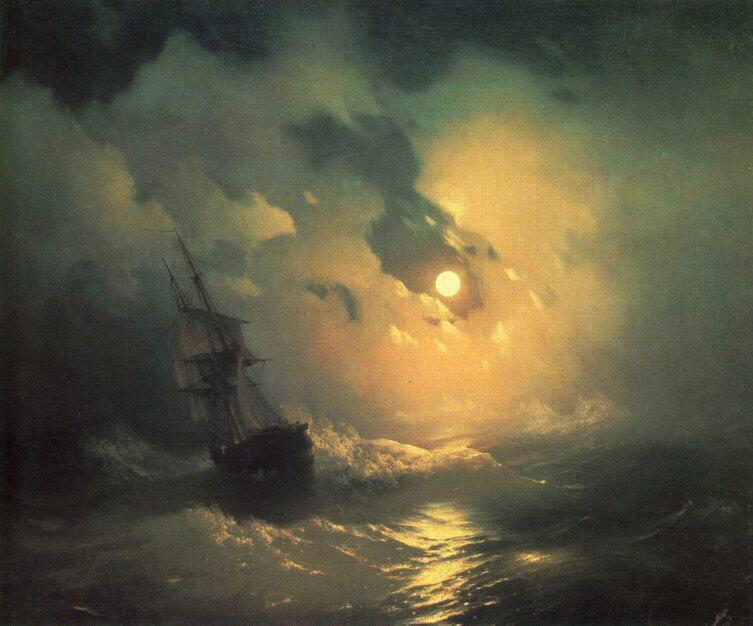 И. К. Айвазовский, Буря на море ночью