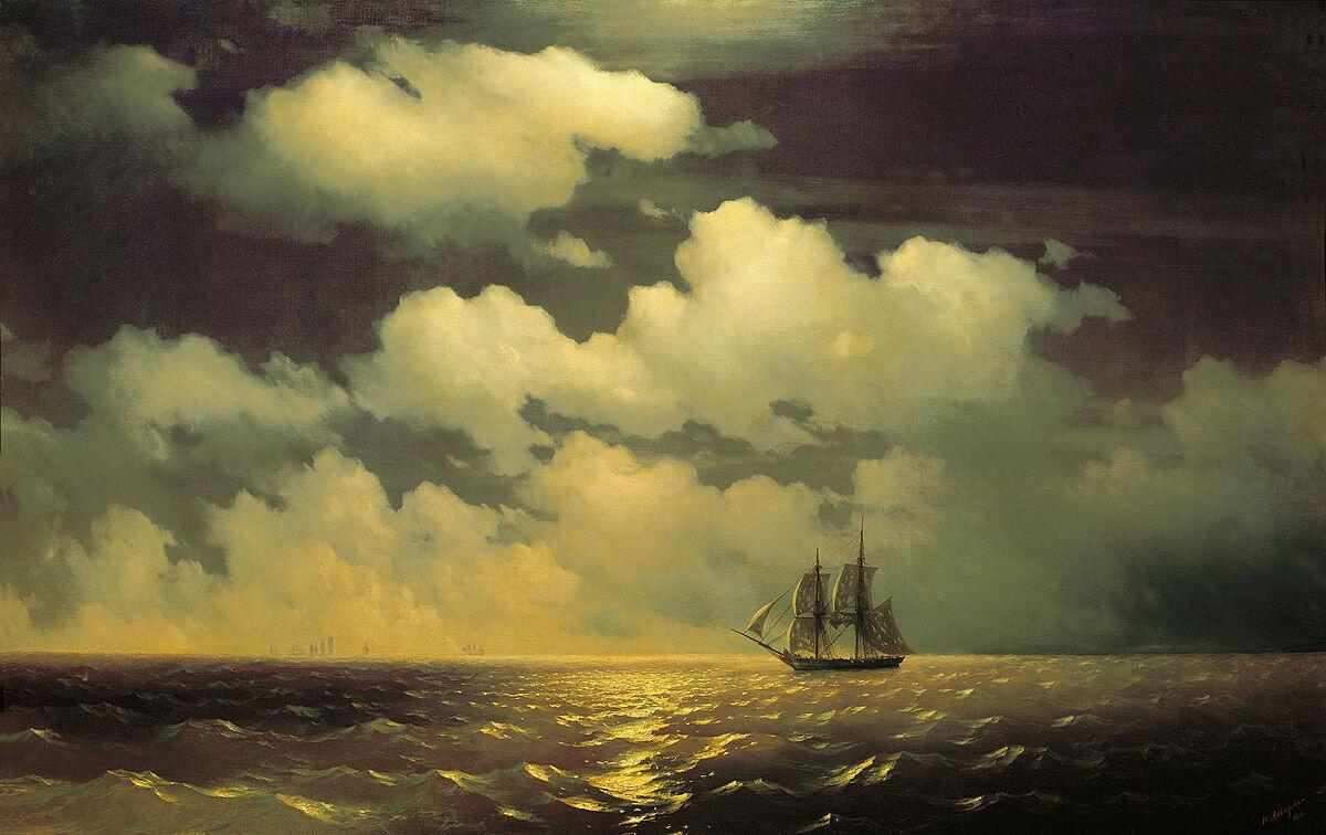 Бриг «Меркурий» после победы над двумя турецкими судами встречается с русской эскадрой, 1848г.