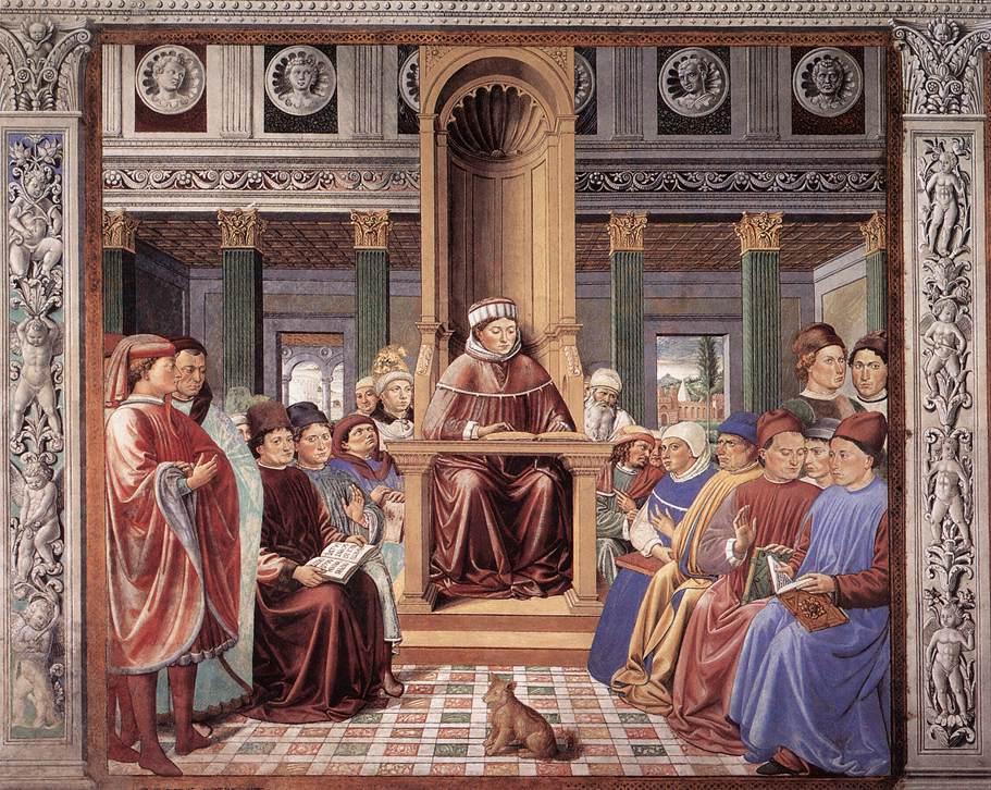 Беноццо Гоццоли, Св. Августин учит в Риме, 1464—1465 гг.