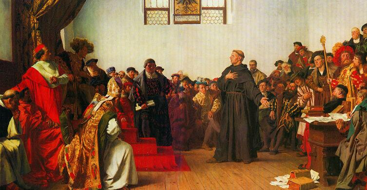 Антон фон Вернер, скан картины, Лютер в Вормсе, 18апреля 1521г.
