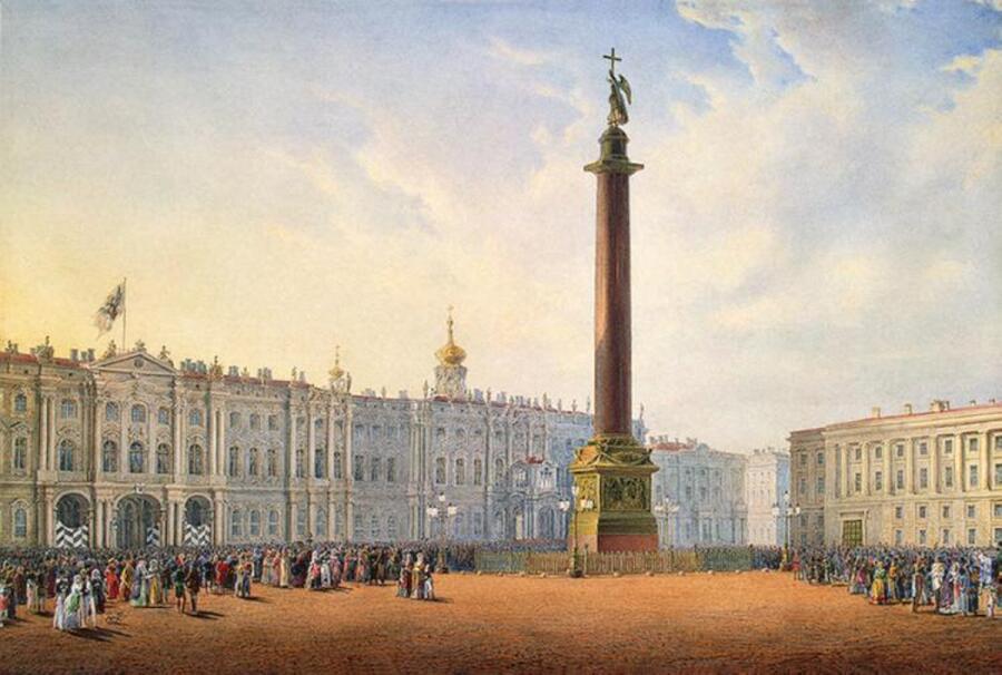 Вид Дворцовой площади в Санкт-Петербурге, Василий Садовников, около 1847 г.