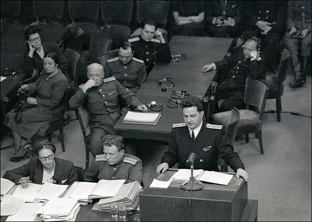Выступление помощника главного обвинителя от СССР государственного советника юстиции 3-го класса Зоря на Нюрнбергском процессе
