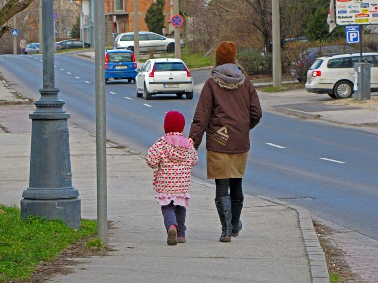 На прогулке легко обратить внимание ребенка на окружающие предметы