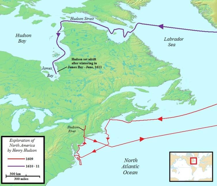 Карта экспедиций Генри Гудзона в Северную Америку