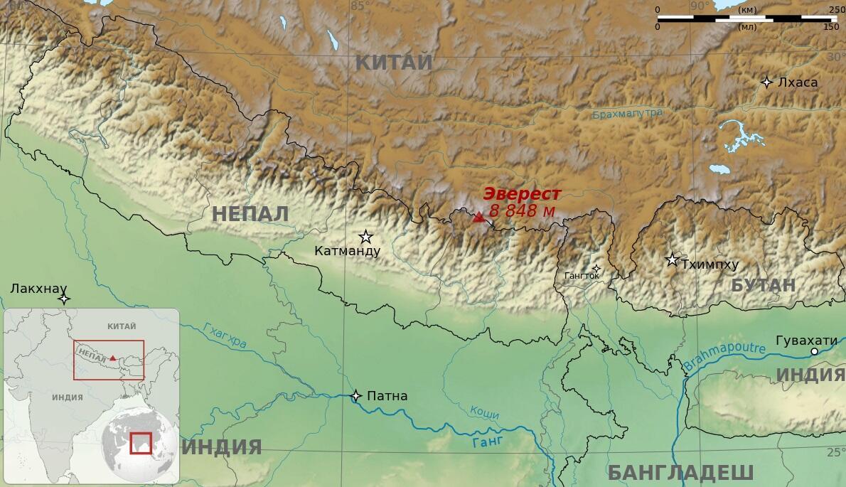 Расположение Эвереста в Гималаях