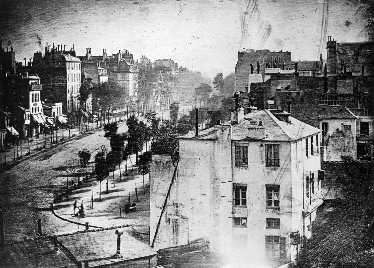 Бульвар дю Тампль в Париже. Луи Дагер, 1838 г.