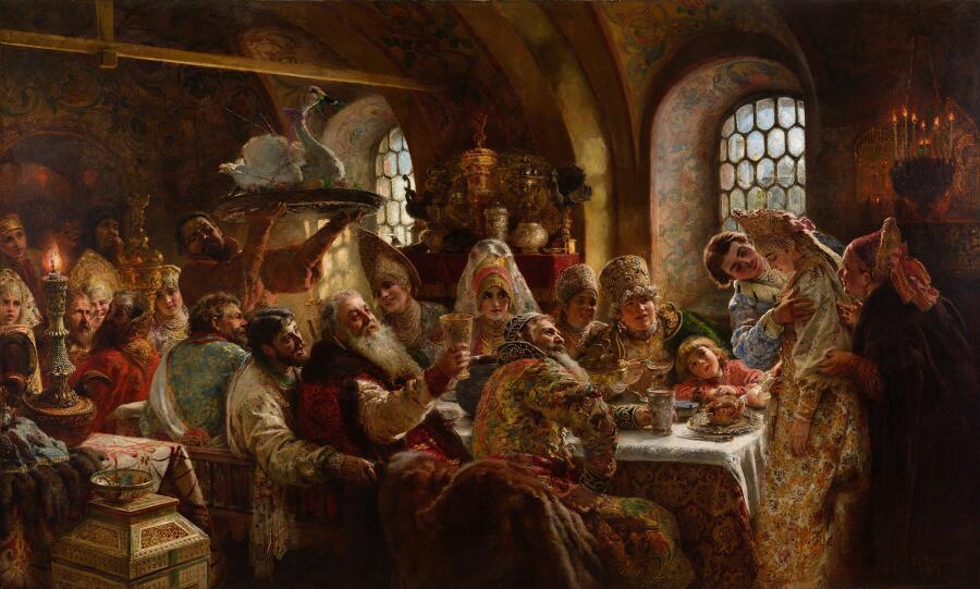 К. Е. Маковский, «Боярский свадебный пир», 1883 г.