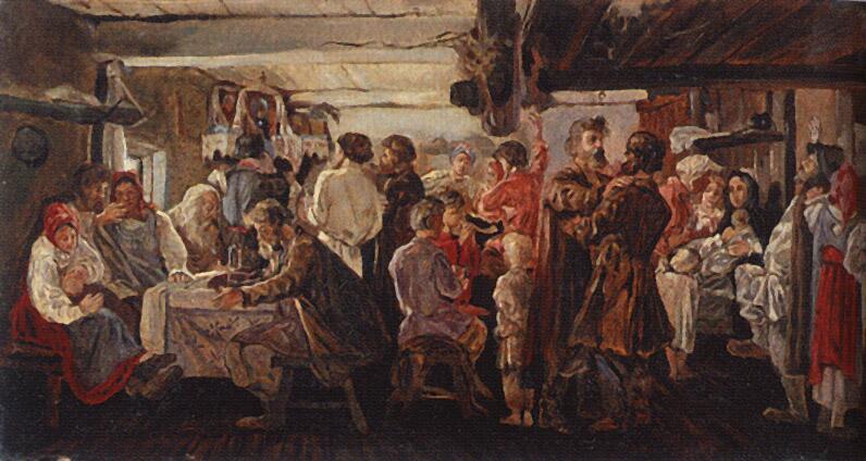 А. П. Рябушкин, «Крестьянская свадьба», 1880г.