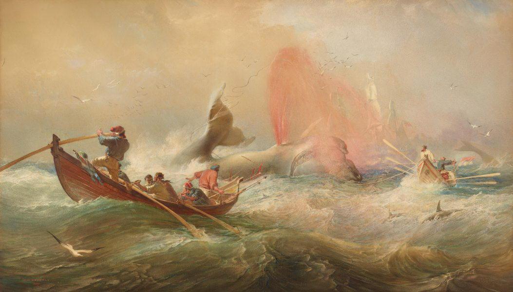 Освальд Брайерли, «Охота на кита», 1867г.