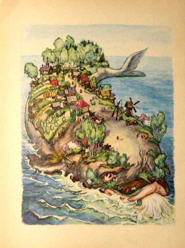 Кит из книги о Коньке Горбунке