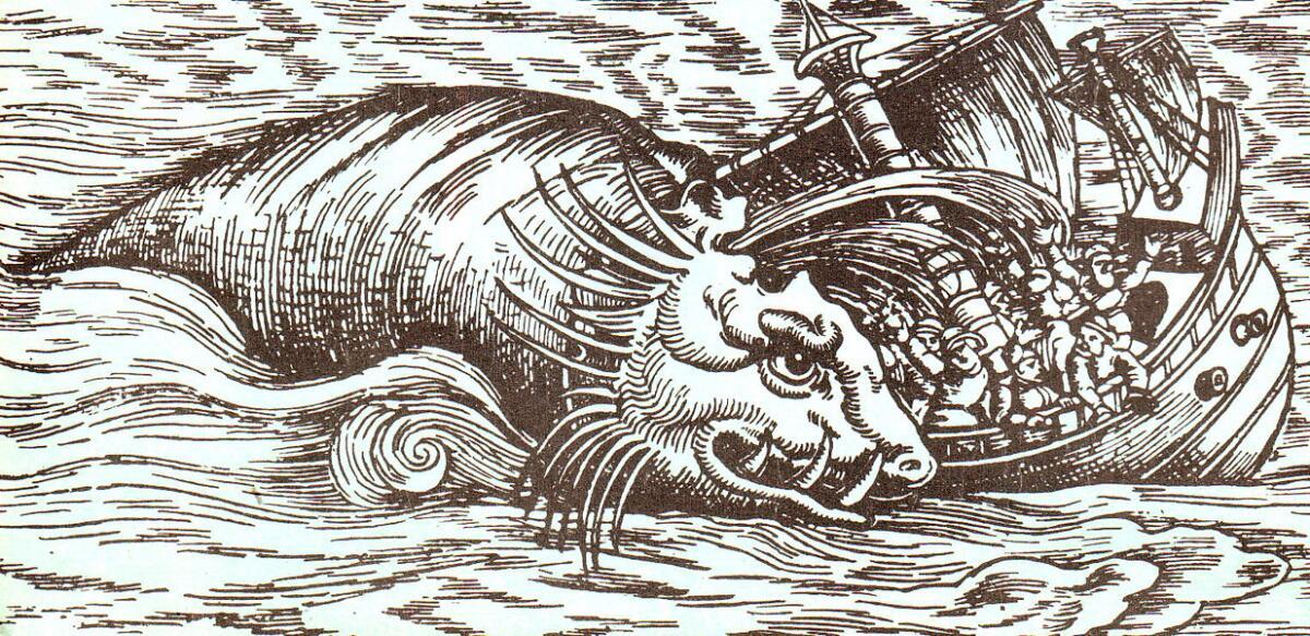 Кит топит судно