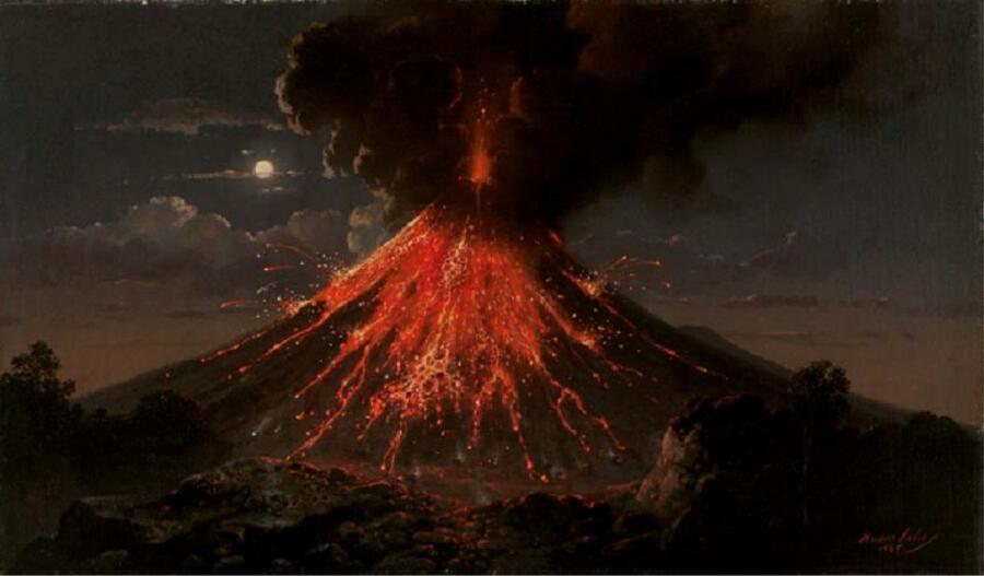 Раден Салех, «Ночное извержение вулкана Мерапи», 1865г.