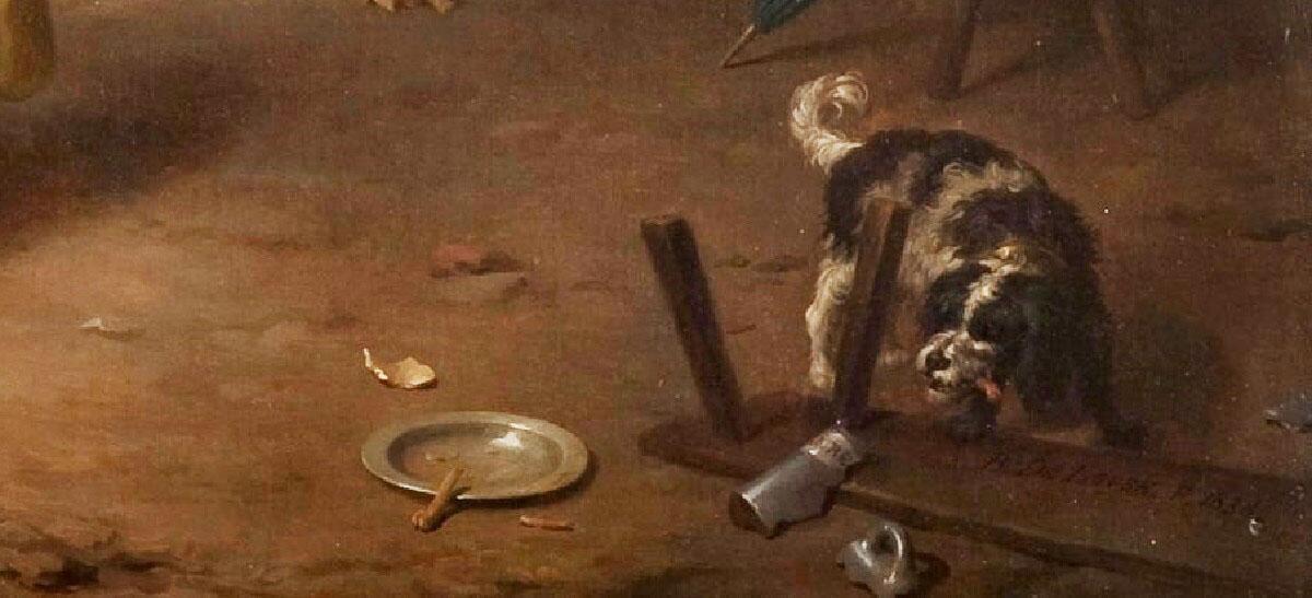 Базиль де Луз, «Праздник в деревне», фрагмент «Пес и автограф на перевернутой скамейке»