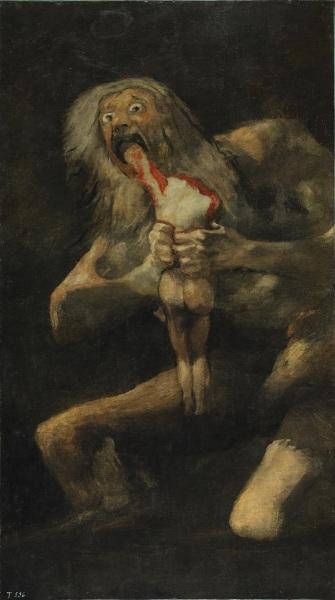 Франсиско де Гойя, «Сатурн, пожирающий своих детей», фреска из Дома глухого, 1819−1823 гг.