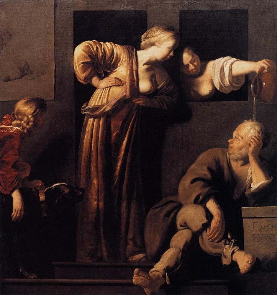 Рейер ван Бломмендаль, «Ксантиппа издевается над философом Сократом в присутствии Алкивиада», ок. 1655г.