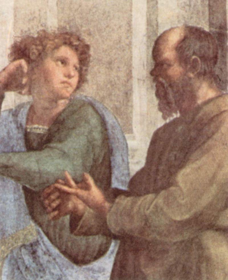 «Сократ и молодой Эсхин», фрагмент фрески Рафаэля «Афинская школа» в Ватикане