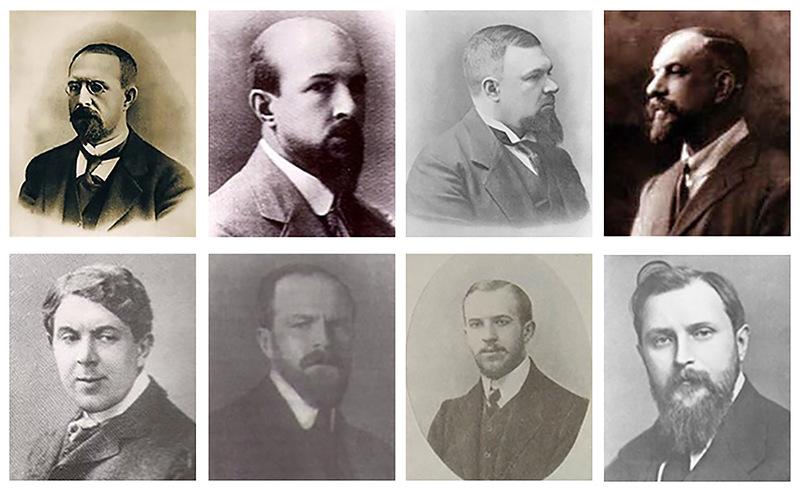 Слева направо— Павел, Михаил, Владимир, Степан, Николай, Сергей, Фёдор, Дмитрий Рябушинские