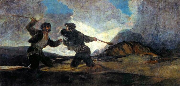 Франсиско де Гойя, «Поединок на дубинах», фреска из Дома глухого, 1819−1823 гг.