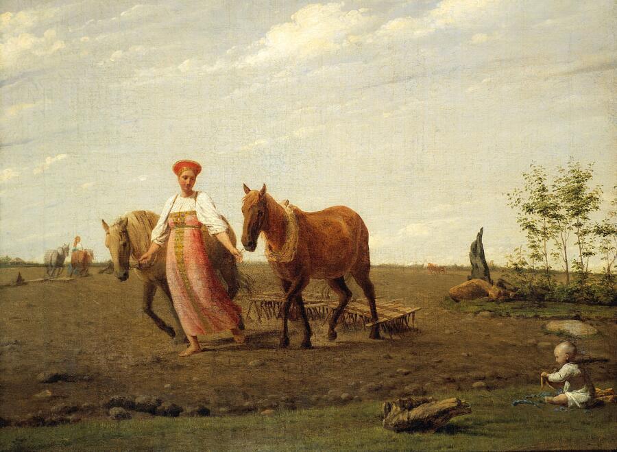 А. Г. Венецианов, «На пашне. Весна», начало 1820-х гг.